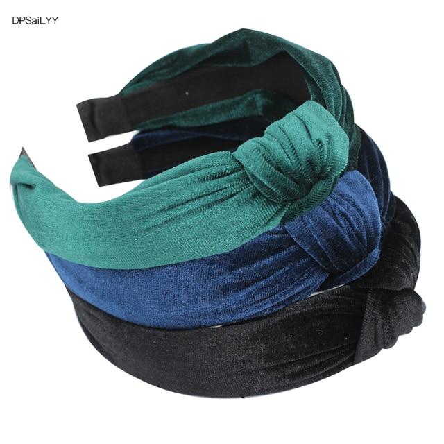 DPSaiLYY 3 PC  Women Top Knot Headband  Black Blue Nylon Turban Headbands for Women Elastic hairband headwear  Hair Accessories