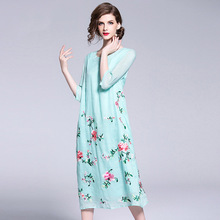 Fashion brand spring, summer and autumn womens clothing European American fashion embroidery cotton linen dress women