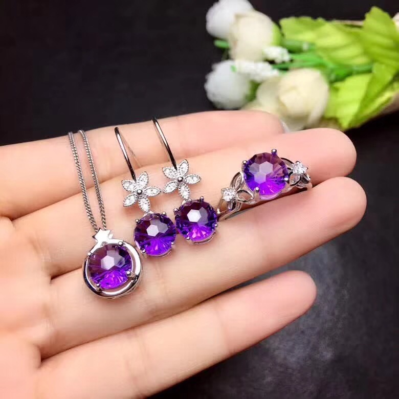 Clear purple amethyst ring  earrings and necklace jewelry set for women with 925 silver 4Clear purple amethyst ring  earrings and necklace jewelry set for women with 925 silver 4