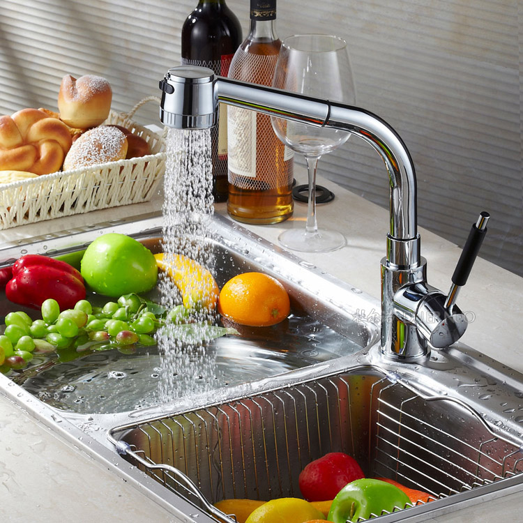 Copper pull type kitchen faucet sink trough with retractable leading shower nozzle