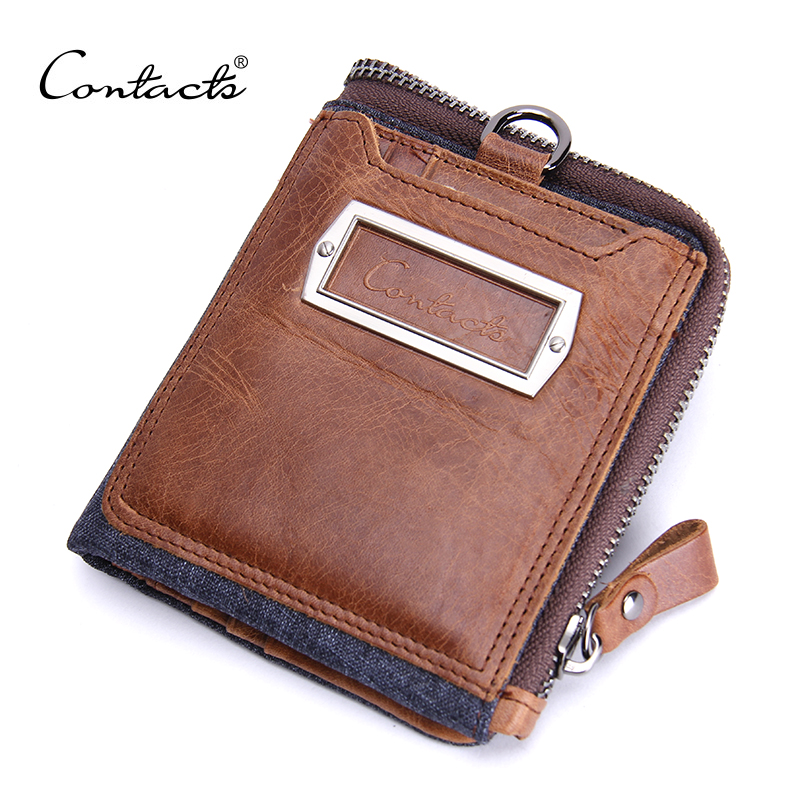 CONTACT'S Genuine Crazy Horse Leather Wallets For Men Casual Short Wallet With Card Holder Carteira Masculina Coin Purse