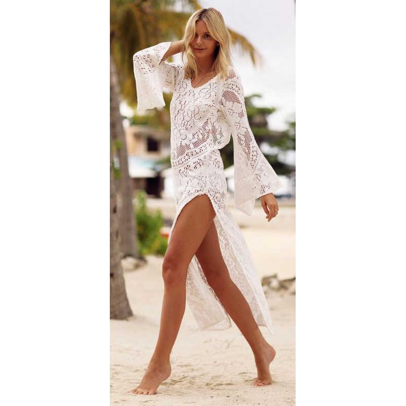 Купальный костюм для женщин, Пляжное Платье, летняя пляжная одежда, туники, купальный костюм, накидка Ups 2018, сексуальные сетчатые костюмы длиной до пола, платье Maios