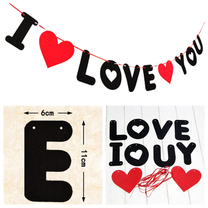 Retro Style Love Heart For Wedding Birthay Party Banner Pull Flower Decoration ...