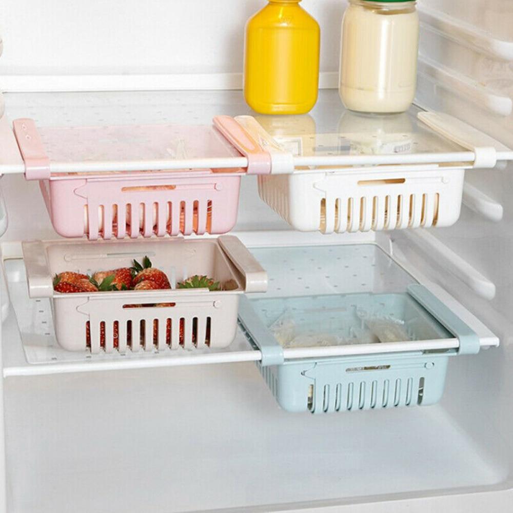 Slide Kitchen Fridge Freezer Space Saver Organizer Storage Rack Shelf Holder