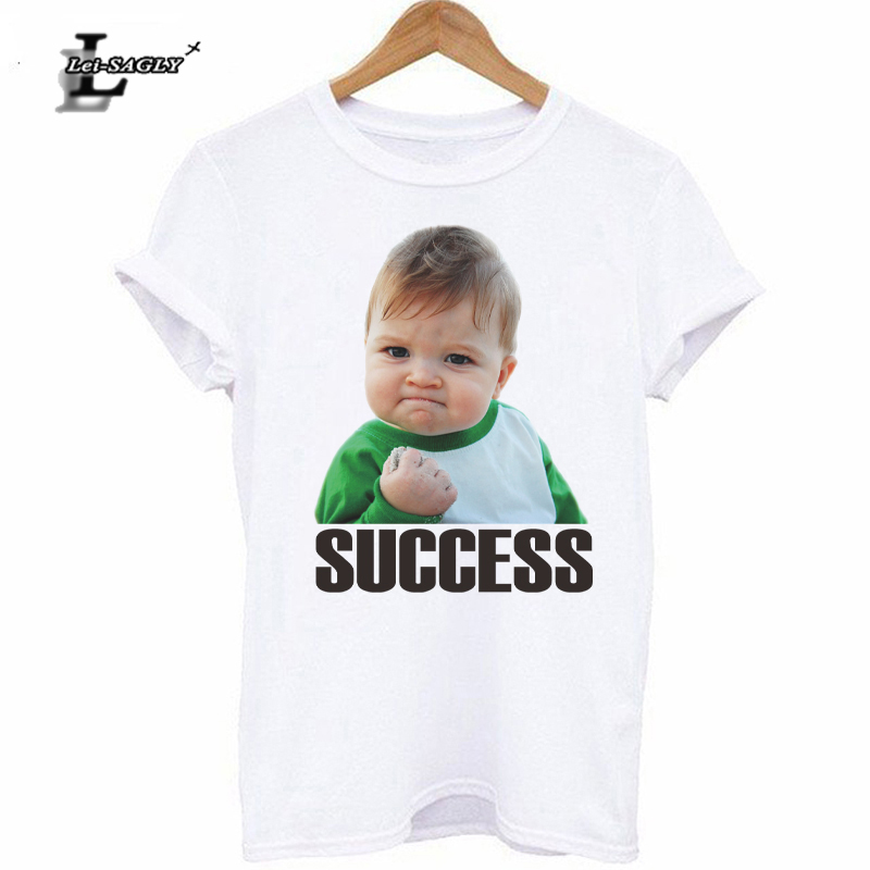 Lei-SAGLY Women Casual Tee Shirt Success Kid Graphic Printing Lady Summer Cotton T-Shirt Short Sleeve Funny Breathable Tops Tees