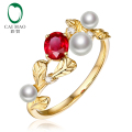 Caimao 14k Gold Natural 0.49ct Ruby with Pearl & Diamond Vintage Design Engagement Wedding Ring