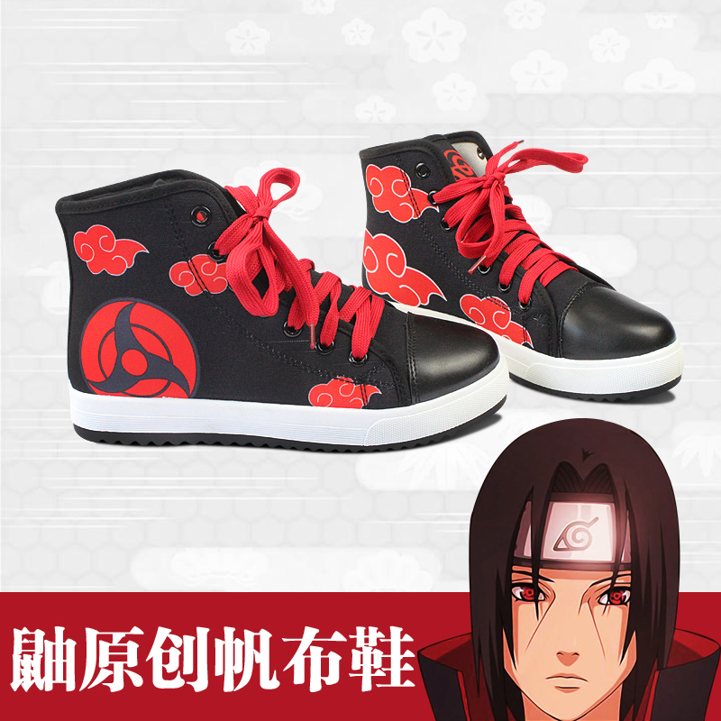 Naruto Skate Shoes Itachi Uchiha Red Cloud Printed Shoes Daily High Top Canvas Shoes Halloween Cos Costume Anime Cosplay Shoes