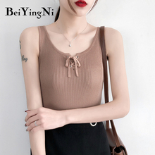 купить Beiyingni Spaghetti Strap Top Women Halter Lace-up Basic High Elastic Knit Tank Top Summer Slim Casual Camisole White Camis Chic по цене 564.94 рублей