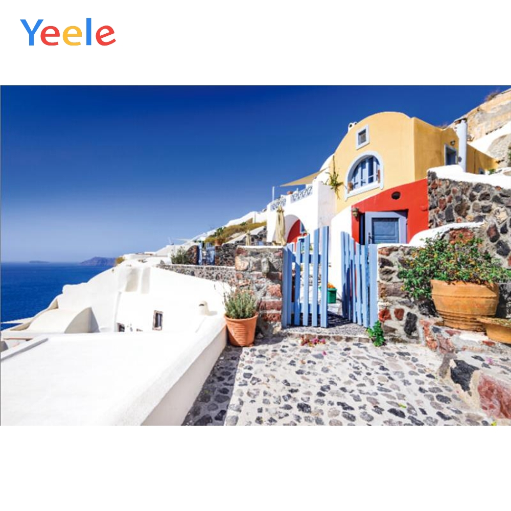 Yeele Seaside Greek Island Blue Sky House Holiday Photography Backgrounds Customized Photographic Backdrops For Photo Studio image