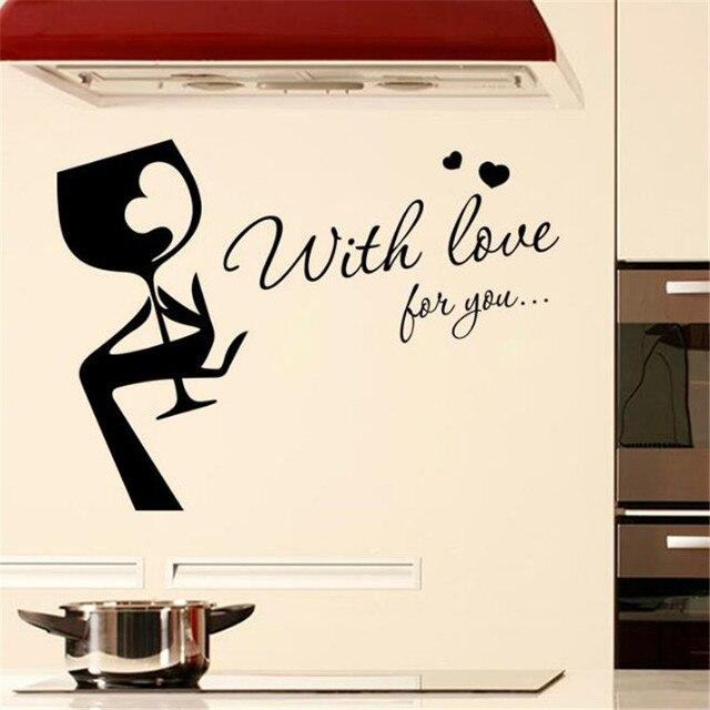 US $6.76 20% di SCONTO|IDFIAF Nuovo di bellezza bicchiere di vino da cucina  frigorifero adesivi adesivi da parete impermeabile in grado di rimuovere ...