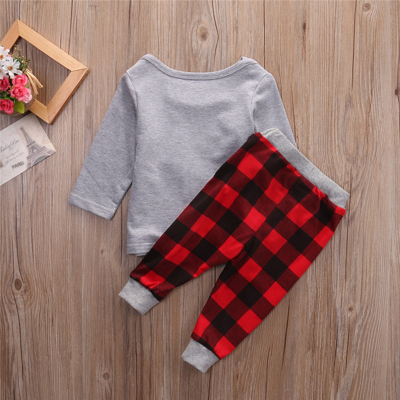 f45ad41966868 2016 Baby Boy Clothes Tree Set Baby Boy Girls Christmas Outfits Tops+Plaid  Pants 2pcs Clothes Set-in Clothing Sets from Mother   Kids on  Aliexpress.com ...