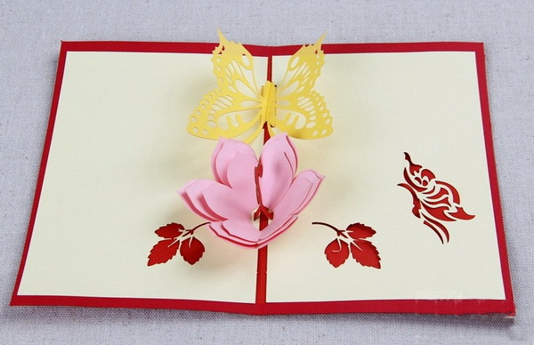 5pcs Lot 3d Pop Up Card Diy Drawing Flower Butterfly Bowl