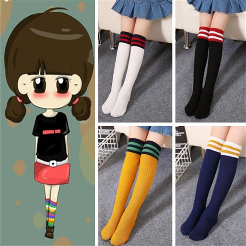 Stripes Sports School Kids Socks Toddler Baby Cotton Socks Knee High Long Leg Warmers Boy Girl Football Sock 1-12Y Children Sock