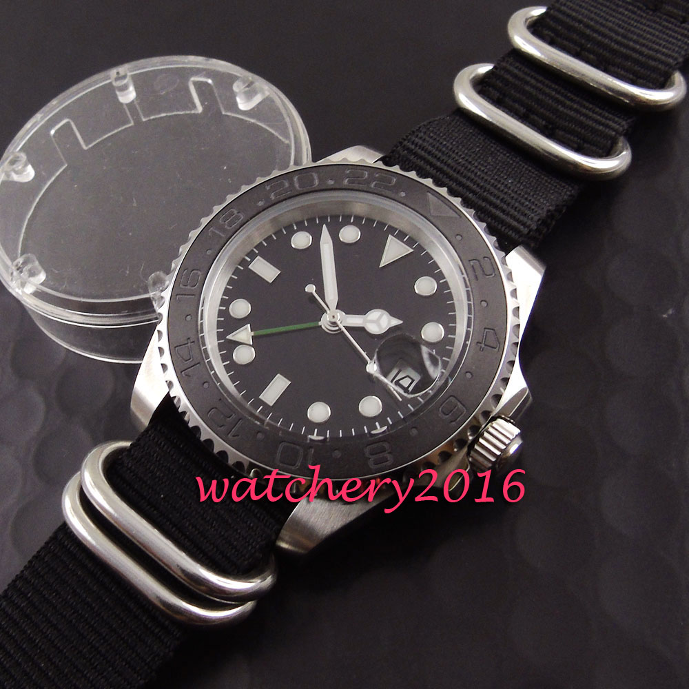 40mm Parnis black dial sapphire mens watches top brand luxury automatic date window GMT miyota automatic movement Men's Watch 40mm parnis white dial vintage automatic movement mens watch p25
