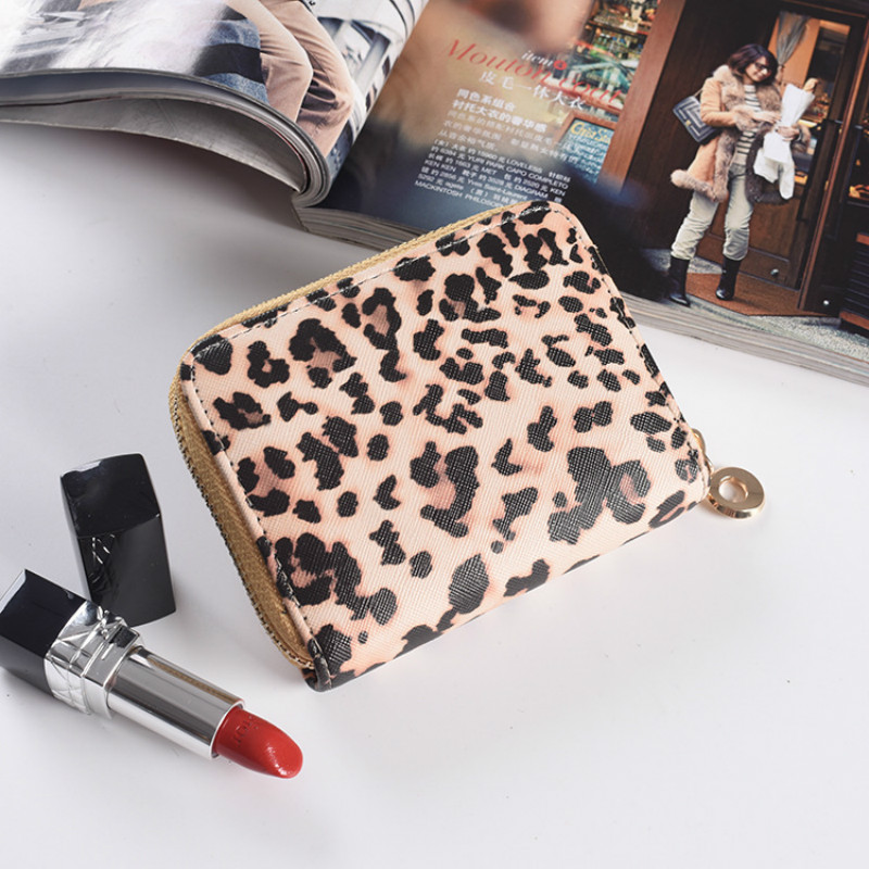 Lralra 2019 New Fashion Women Wallet Small Cute Short Pu Leather Girl Wallets Purses Leopard Animal Print Card Holder Zip Around