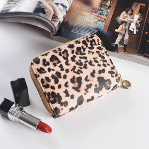 Lralra Women Wallet Purses Zip-Around Animal-Print Leopard Girl Small Cute Card-Holder
