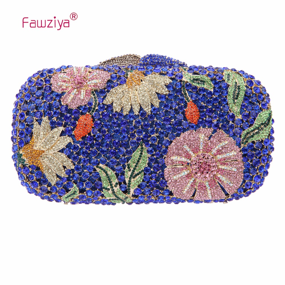 Fawziya Bling Flower Evening Purse Cocktail Crystal Kväll Koppling - Handväskor