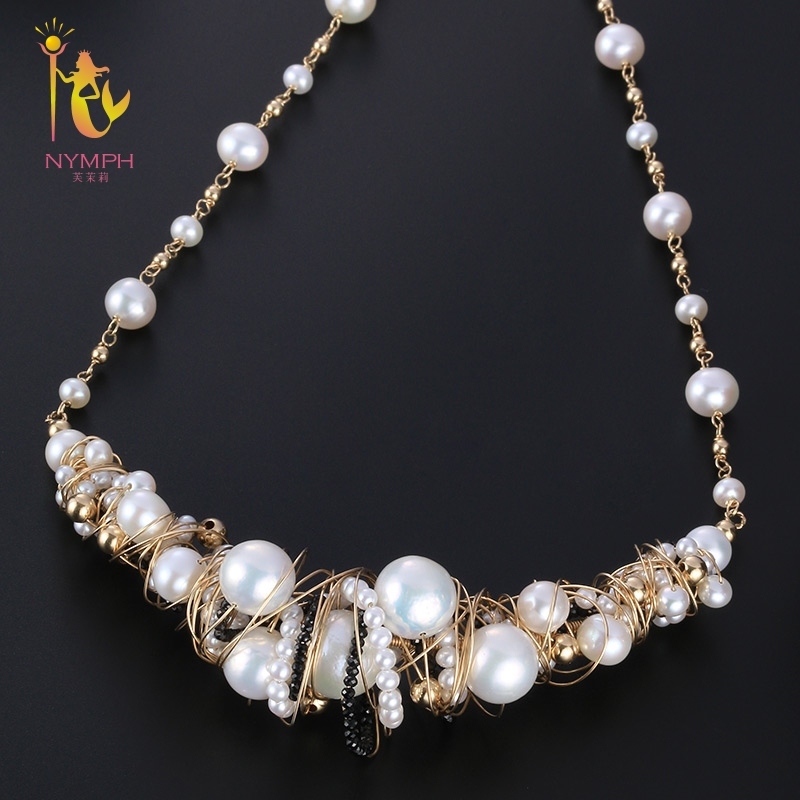 [NYMPH] Fine Jewelry Pearl Necklace Baroque And Round Pearl Torques Necklace Women Wedding Trendy Party Jewelry X351