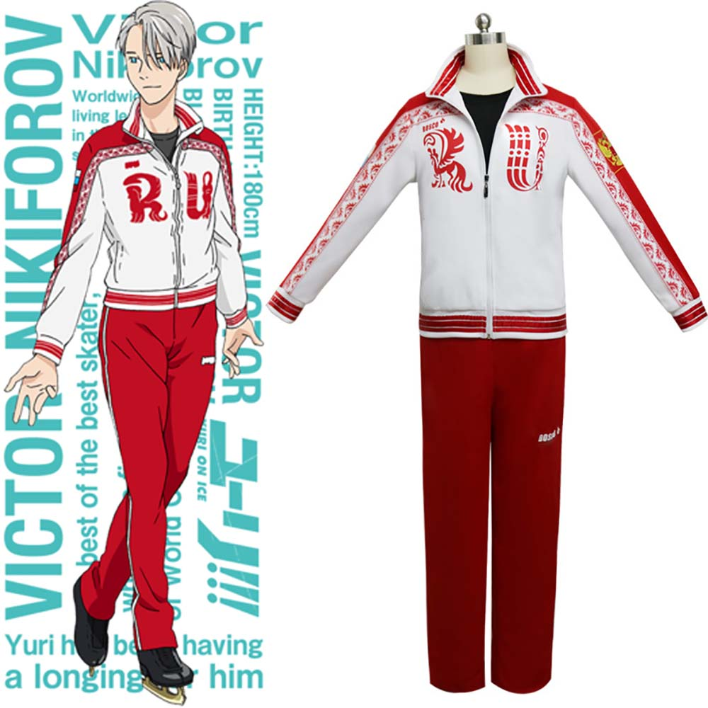 Yuri on Ice Victor Nikiforov Cosplay Costume Figure Skating Uniform Sportswear Track Suit Outfit Japanese Anime Carnival Costume