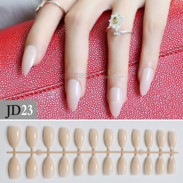 New Solid Fashion Nude Color Mountain Peak Transparent Natural Yellow False Nails 24pcs Full Cover Stiletto