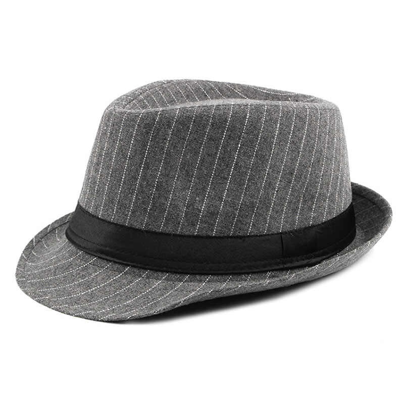 f4729310 Detail Feedback Questions about FS Vintage Striped Felt Hat Wide Brim  Gangster Hats For Men 2018 Stylish Trilby Spring Autumn Mens Classic Ribbon  Band ...