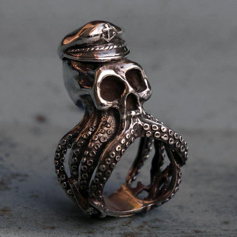 EYHIMD Herren Silber Farbe Anker Octopus Schädel Edelstahl Ring Punk Navy Kapitän Biker Ringe Geschenk für Ihn