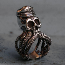 EYHIMD Mens Silver Color Anchor Octopus Skull Stainless Steel Ring Punk Navy Captain Biker Rings Gift for Him