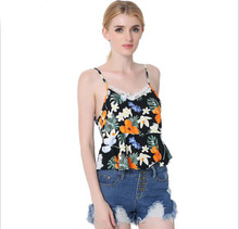 2017 Summer Newest Women V-Neck Print Lace Stitching Strap Ruffles Short Camis Tops Back Hollow Out Casual Slim Beach Camis Tops