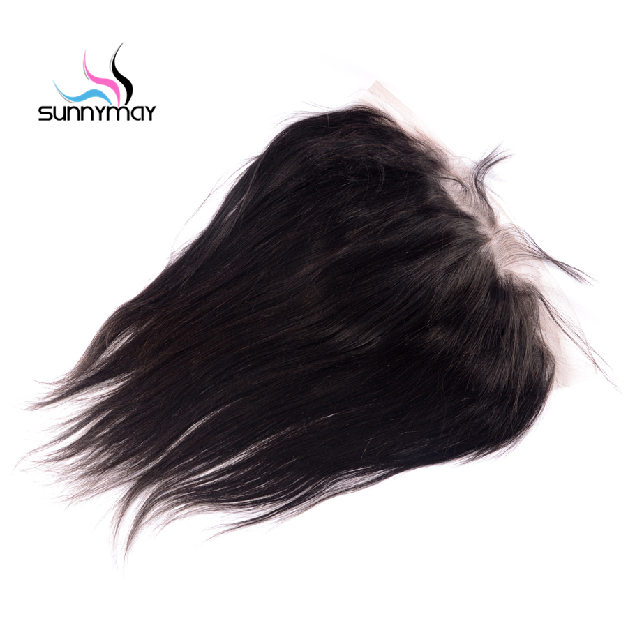 Sunnymay Straight Brazilian Virign Hair Closure Natural Color 13×6 Swiss Lace Pre plucked Human Hair Lace Frontal Free Shipping