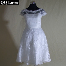 QQ Lover See through Vintage Inspired Custom Made Plus size Scoop Tea Length Lace Short Wedding Dresses Garden Bridal gown