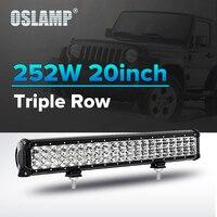 Oslamp 252W 20 Spot + Flood Combo Straight LED Light Bar 12V 24V 6000K Auto Led Light for SUV ATV RZR UTV Truck PickUp Led Bar