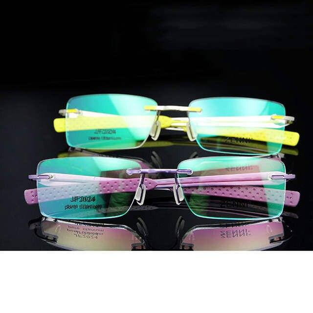 bbf874a6d5e Fashion Neon Colorful Titanium Eyeglasses Rimless Glasses Frame Women  Prescription Eyewear in Optical Lens Rx Eye