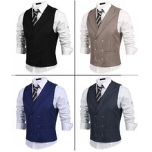 new vest Men's Double Breasted Slim fit Formal Business Suit Vest Dress Wedding Waistcoat