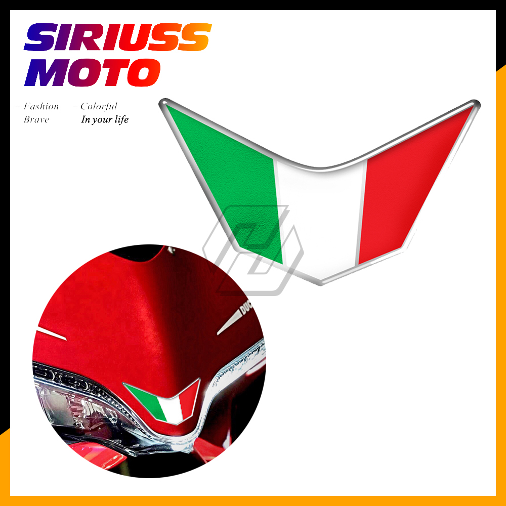 3D Resin Motorcycle Front Fairing Decals Italy Sticker Case for Ducati 959 969 1199 1299 PANIGALE V4 S R SUPERSPORT3D Resin Motorcycle Front Fairing Decals Italy Sticker Case for Ducati 959 969 1199 1299 PANIGALE V4 S R SUPERSPORT