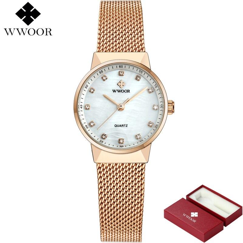 WWOOR Märke Luxury Women Vattentät Quartz Watch Ladies Rose Gold - Damklockor - Foto 2