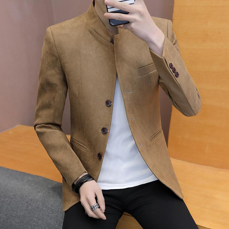 Single Breasted Long Sleeve  Mens Suit Jacket Blazers Slim Fit Vintage Mens Velvet Blazers Fashion Streetwear Tunic Coat Male