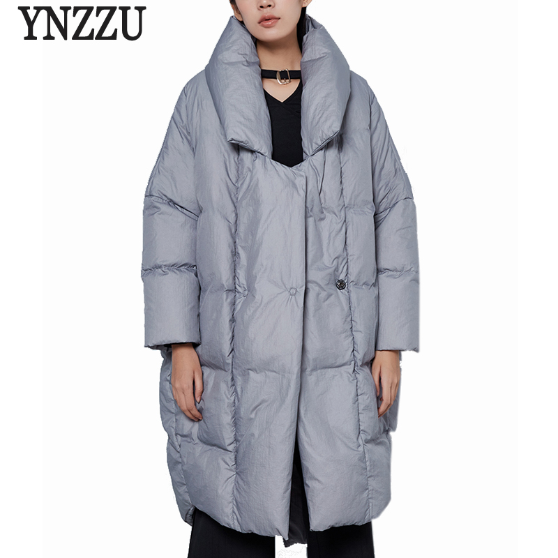 YNZZU New Design 2017 Luxury Womens Down Jacket Solid Casual Loose 90 White Duck Down Coat