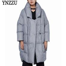 YNZZU New Design 2017 Luxury Womens Down Jacket Solid Casual Loose 90% White Duck Down Coat Warm Oversized Female Jacket AO376