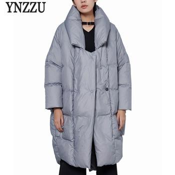 YNZZU New Design Luxury Womens Down Jacket Solid Casual Loose 90% White Duck Down Coat Warm Oversized Female Jacket AO376