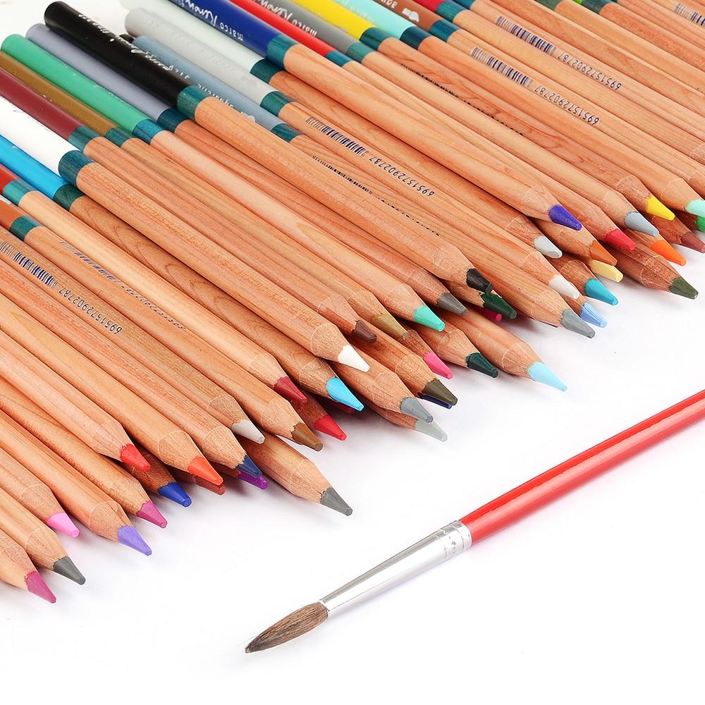 Marco-3120 Renoir crayons de couleur Art professionnel peinture crayon 48/72 couleurs ensemble pour dessin aquarelle peinture + pinceau - 4