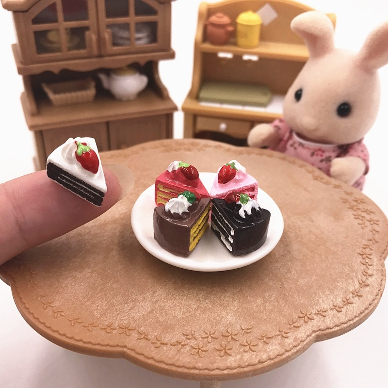 2pcs Miniature Artificial Strawberry Cake Doll House Miniature Food 1//12  cb