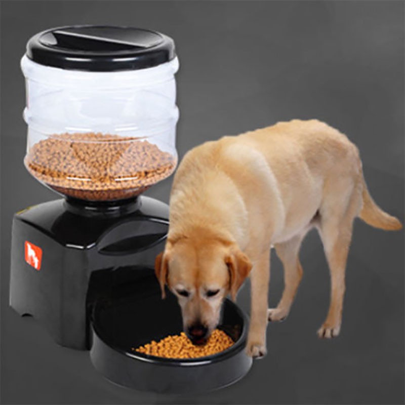 5 5L Automatic Pet Feeder with Voice Message Recordin Food Dish Bowl Dispenser LCD Display Dog