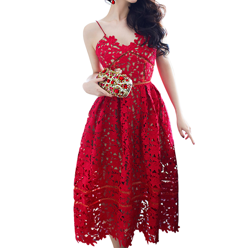 2018 Sexy Lace Party Skater Dress Women Hollow Out Red Nude Illusion A-Line Dresses Ladies Sleeveless Midi Beach Dress ...