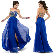 Free Shipping Royal Blue Mint Green Hot Pink Sexy High Slit Beaded Sweetheart Bodice Women Long Prom Dress With Open back