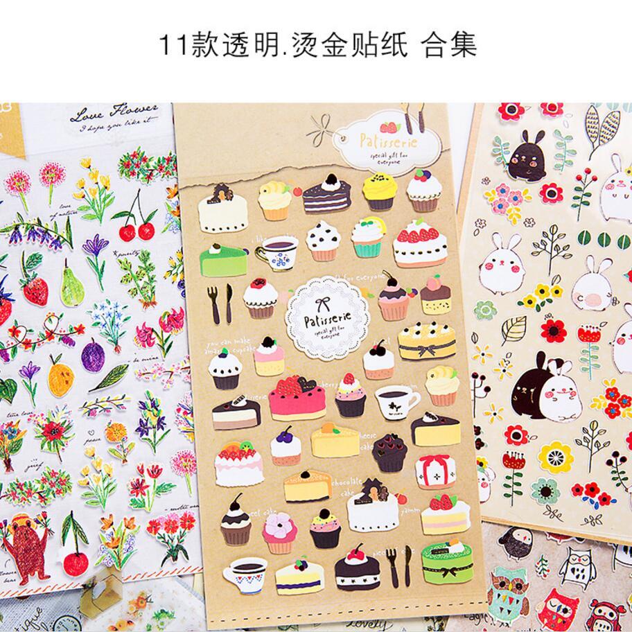 1pcs Paper+PVC Animal Owl/Food/Cake/London/Plants/Rabbit Planner Calendar Book Cute Diary Sticker Scrapbook Decoration 11 style the rhyming rabbit sticker book