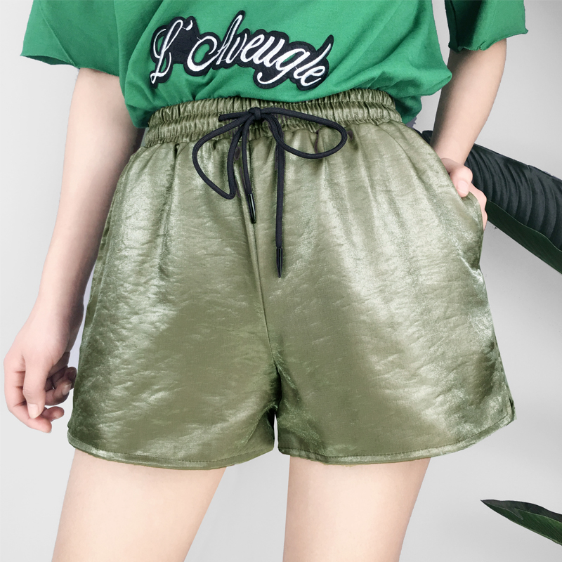 Golden bright surface wide-legged pants Easy draw string high elastic waist a font jogging pants fitness fever lady