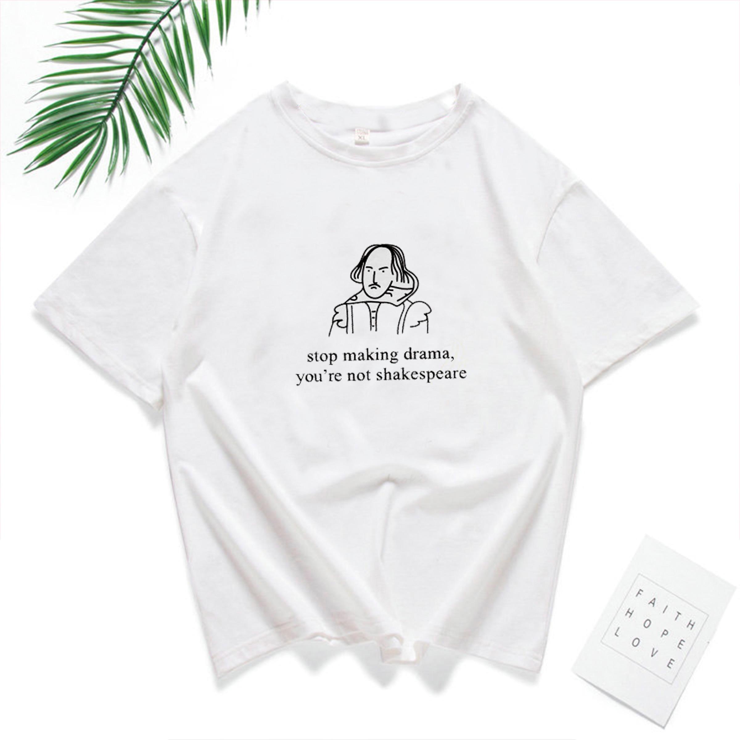 Shakespeare Print Character Letter Top Female Summer T-Shirt Women 2019 Casual White T Shirt Short Sleeve Harajuku Tee Shirt
