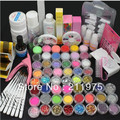 Pro Acrylic Liquid Nail Art Brush Glue Glitter Powder UV Gel Tool Set Kit Tips