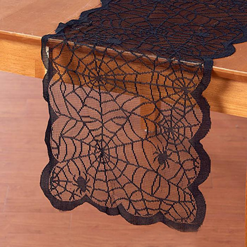 Black Table Runner Lace Spider Web Fireplace Cover Party Decoration Halloween Decoration Tablecloth Halloween Party Supplies