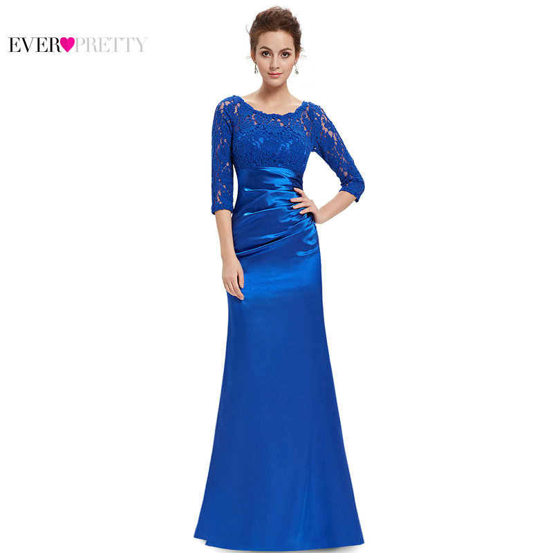[Clearance Sale] Ever-Pretty Women Vintage Long   Bridesmaid     Dress   Lace A-Line 3/4 Sleeve Backless Formal Party   Dress   For Wedding